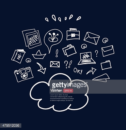 Cloud computing technology abstract sketchy scheme on dark background