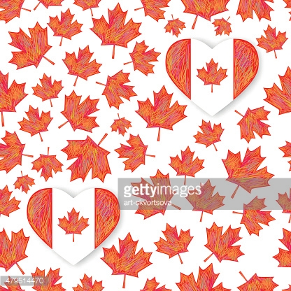Seamless pattern with maple leafs
