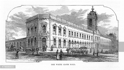 Exterior of The White Cloth Hall, Leeds, England Victorian Engraving