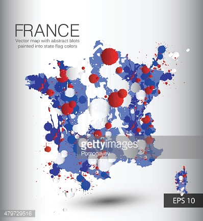 France vector map with abstract blots