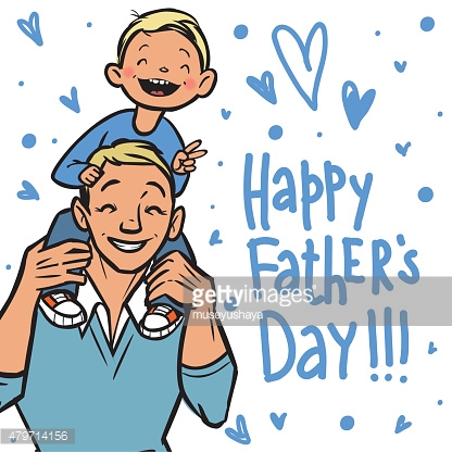 Funny cartoon fathers day card. vector illustration