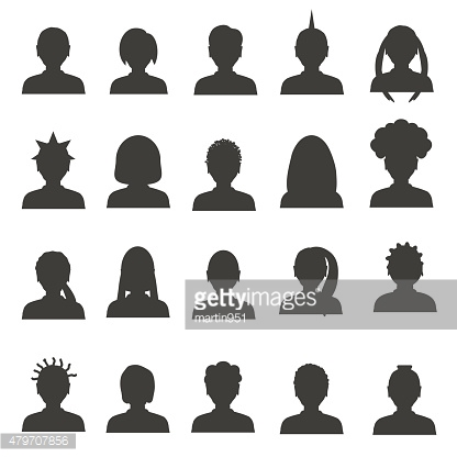men and women head simple avatar icons set  eps10