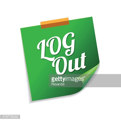 Log Out Green Sticky Notes Vector Icon Design