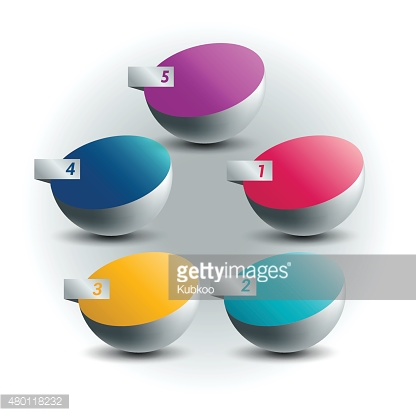 5 Circle number diagram, options, step by step template.