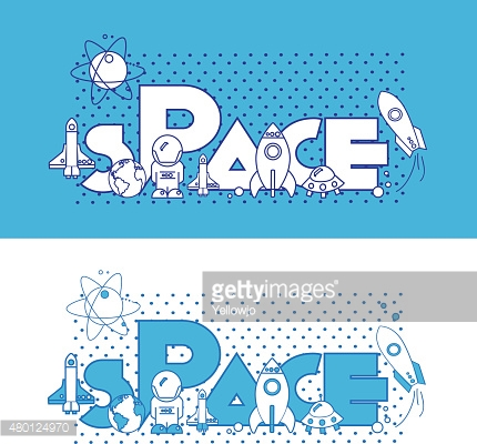 Space.Flat Illustration with typographic