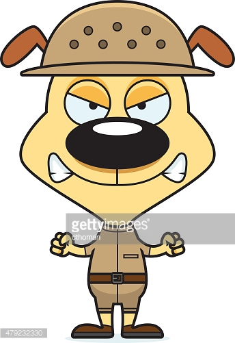 Cartoon Angry Zookeeper Puppy