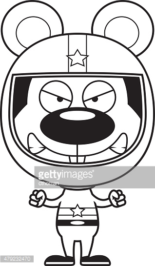 Cartoon Angry Race Car Driver Mouse