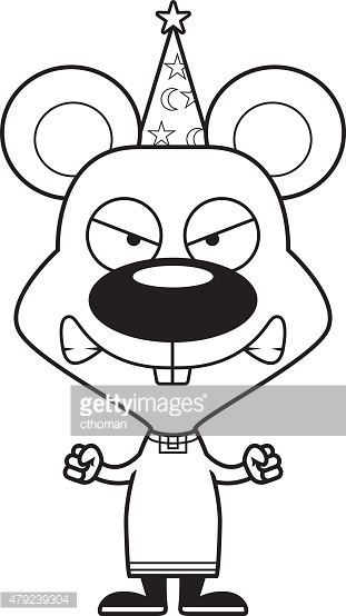 Cartoon Angry Wizard Mouse