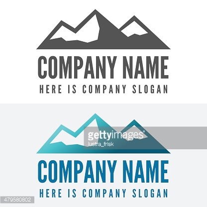 Logo, badge, label, logotype elements with mountains for web, business