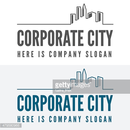 Logo, badge, label, logotype elements with buildings for web, business