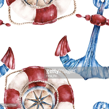 Seamless pattern with lifebuoy, anchor and compass. Watercolor illustration.