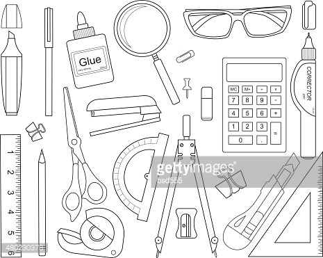 Set of stationery tools line-art