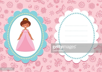 Pink birthday card with cute brown-haired princess