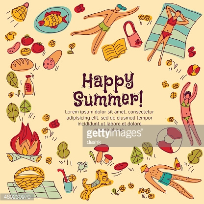 Frame border summer card objects and people square