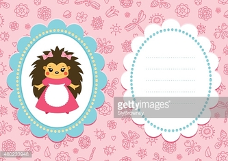 Pink baby card with hedgehog