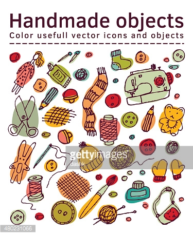 Set of isolated handmade icons and objects