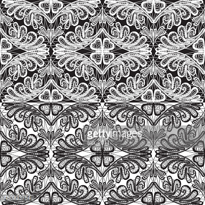Seamless pattern, floral lace ornament - white and black background