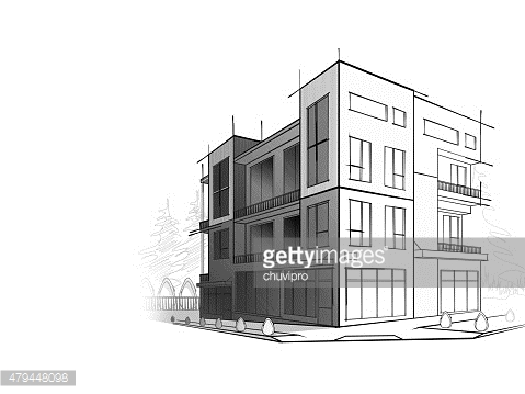 Grayscale sketch of modern house