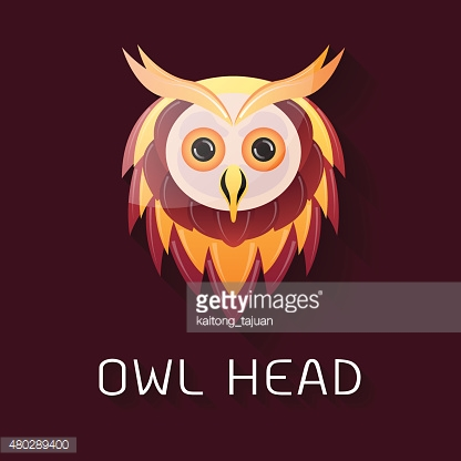 Owl head, gradient color style-Vector illustration
