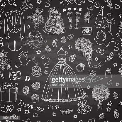 Doodle pattern with wedding images
