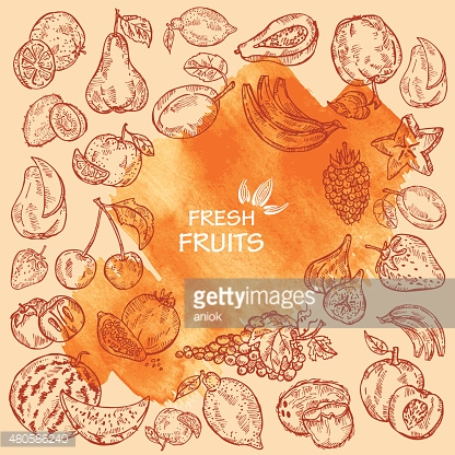 watercolor background with fruits in vector.