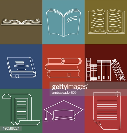 Book Icons Set, Document and Paper signs - Vector illustration