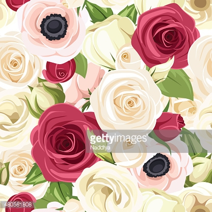 Seamless background with red, pink and white flowers. Vector illustration.