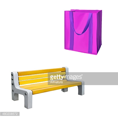 Pink shopping bag for groceries, yellow park bench