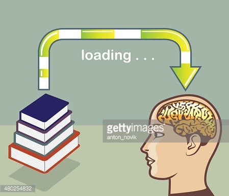 Loading Knowledge from books into the mind Vector