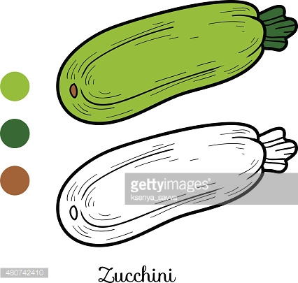 Coloring book: fruits and vegetables (zucchini)