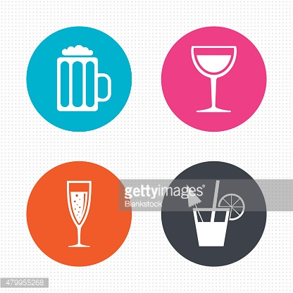 Alcoholic drinks signs. Champagne, beer icons