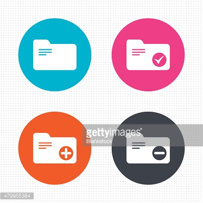 Accounting binders icons. Add document symbol
