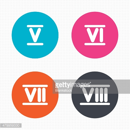 Roman numeral icons. Number five, six, seven