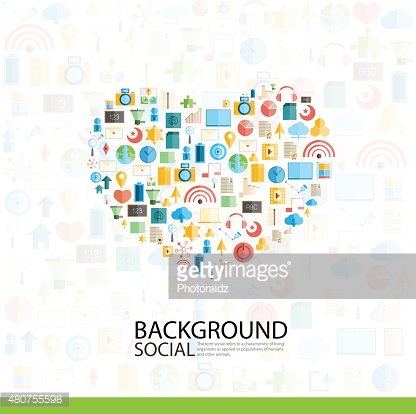 Heart Social network with media icons background