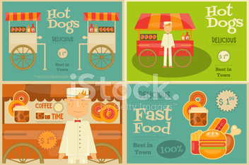 Fast food mini posters stock photos for Case in stile piantagione hawaiana