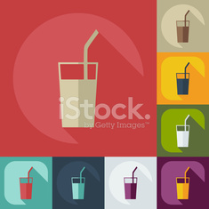 Flat modern design with shadow icons coffee