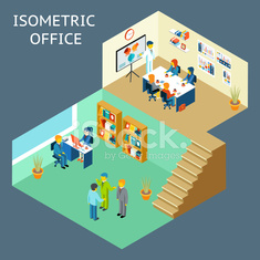 Office work. Isometric flat 3d about office staff