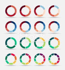 Segmented and multicolored pie charts set.