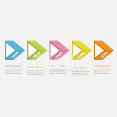 timeline infographic five step 3d triangle arrow flat stock photos