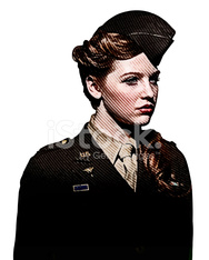 Retro Portrait Of Woman Soldier Nurse
