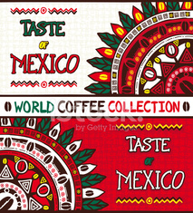 Coffee background Taste of Mexico, hand drawn design elements