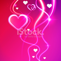 Love vector background shiny glowing pink hearts