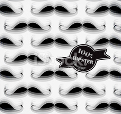 Hat and mustache background in modern style