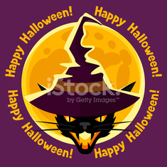 Happy halloween greeting card with moon and angry cat