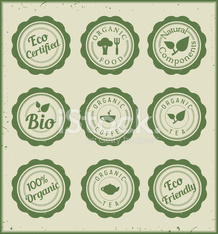 Set of green eco hollow stickers