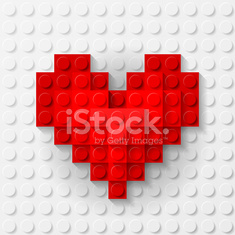 Red heart made of construction kit