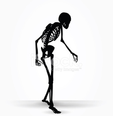 skeleton silhouette in old walk pose