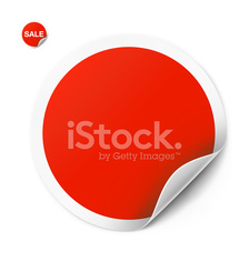 Red round sticker isolated on white background. Vector illustration