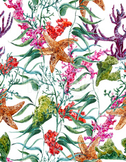 Shabby vintage watercolor sea life seamless pattern with seaweed starfish