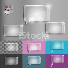 Rectangle set of glass speech bubble icons with soft shadow